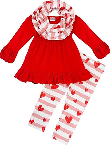 Boutique Clothing Girls Valentines Day Love Top Pants Scarf 3pc Outfit Set