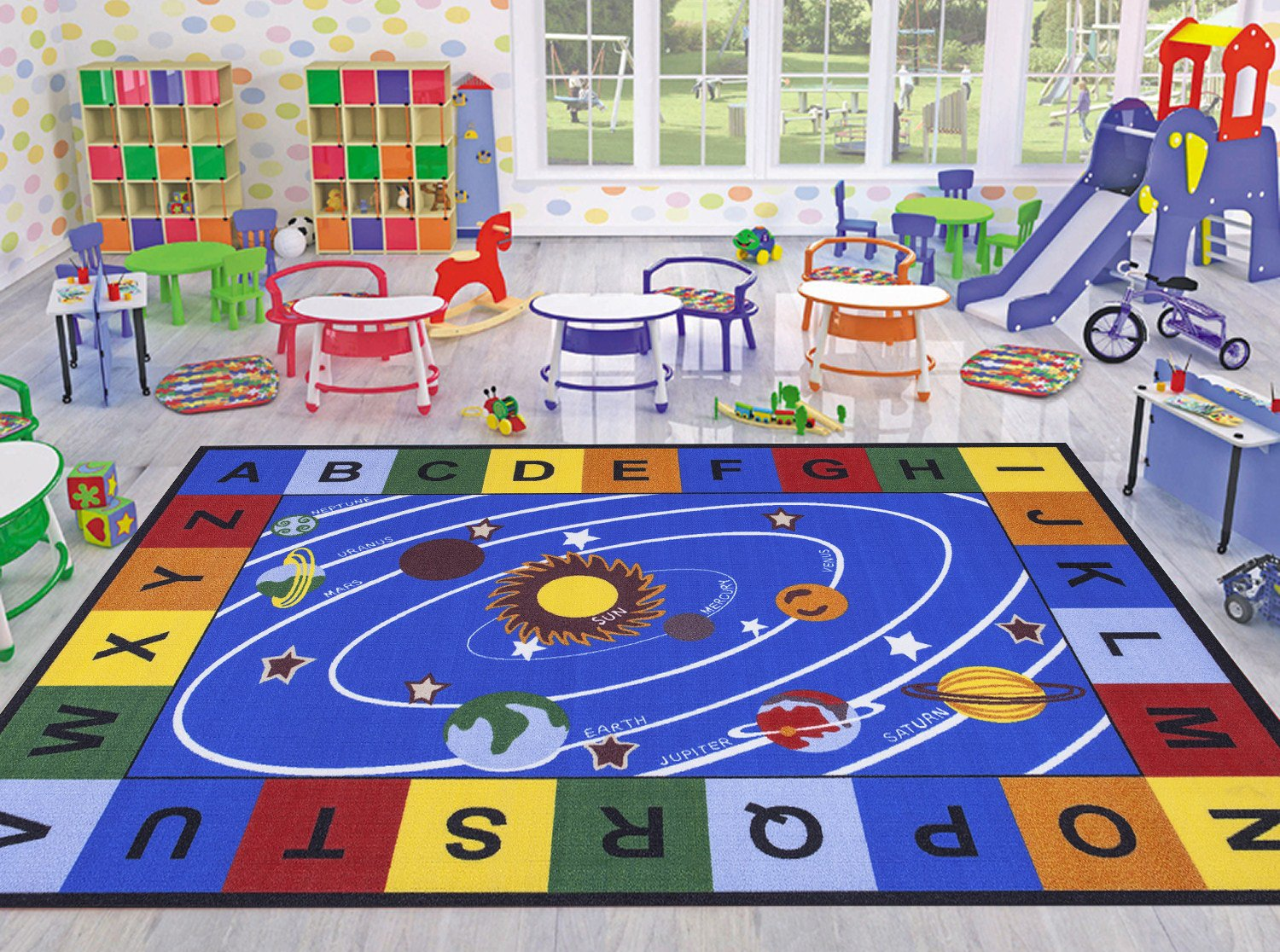 Ottomanson Jenny Collection Blue Base with Multi Colors Kids Children's Educational Our Solar System Design Area Classroom Rugs, Multicolor,  8'2'' X 9'10''