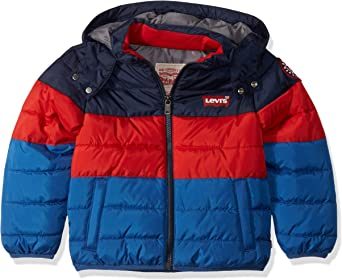 Levi's Big Boys' Puffer Jacket, Navy/Red/Blue, M