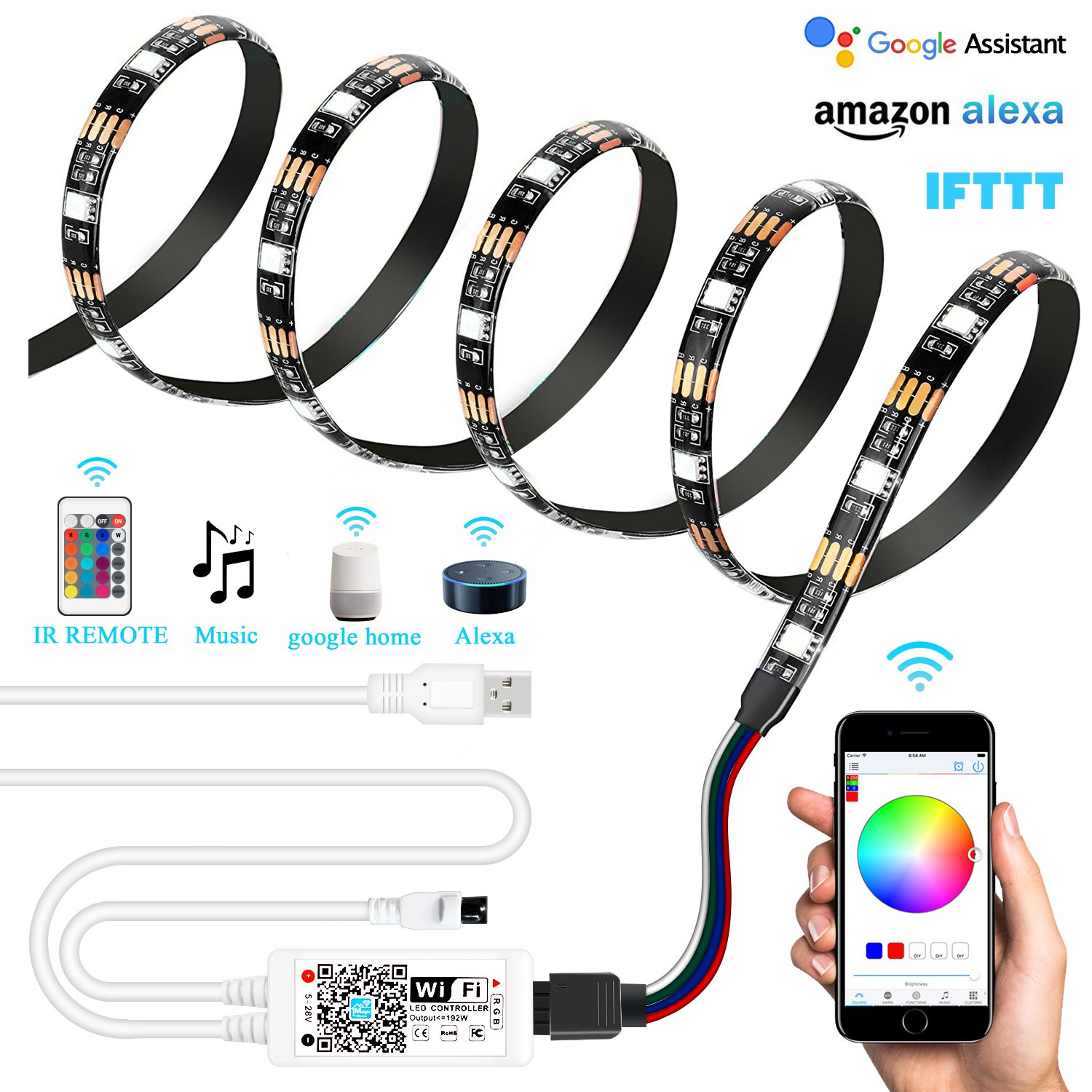 AEGOOL USB WIFI PC/TV Backlight Kit, Smart Phone Wireless RGB Multicolor LED Screen Accent Strip 6.56ft 60LEDs 5050 Dimmable Waterproof Color Bias Lighting via APP Android IOS Music Alexa Echo Goo