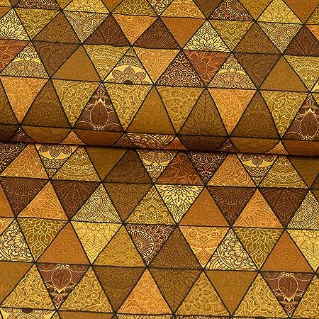 Tela de algodón con diseño de triángulos Mandala, color marrón: Amazon.es: Hogar