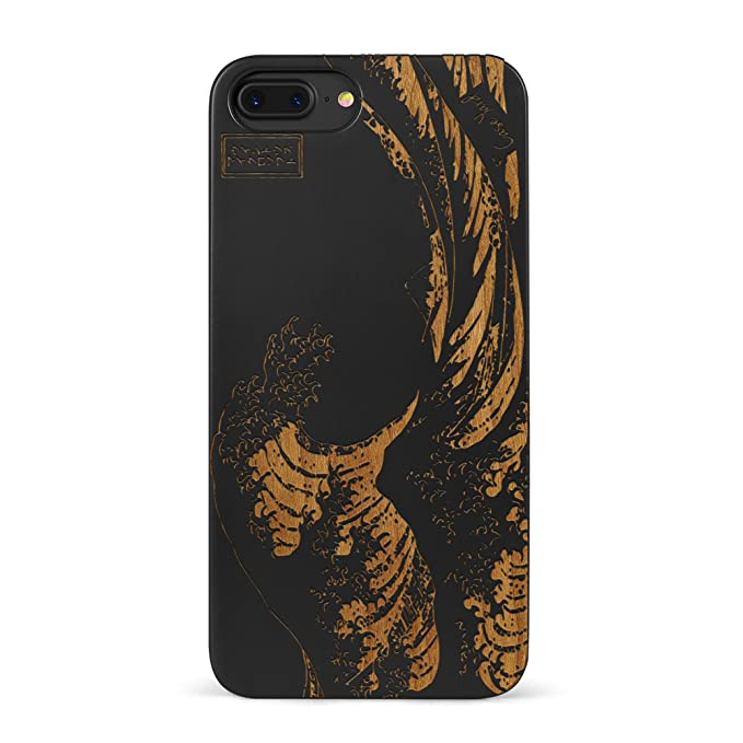 new concept 24766 6316e iPhone 8 Plus Case, CaseYard [ Wood Series ] Slim Fit Hybrid Case for  iPhone 8 Plus, Lightweight Premium Made in California, Black Great Wave