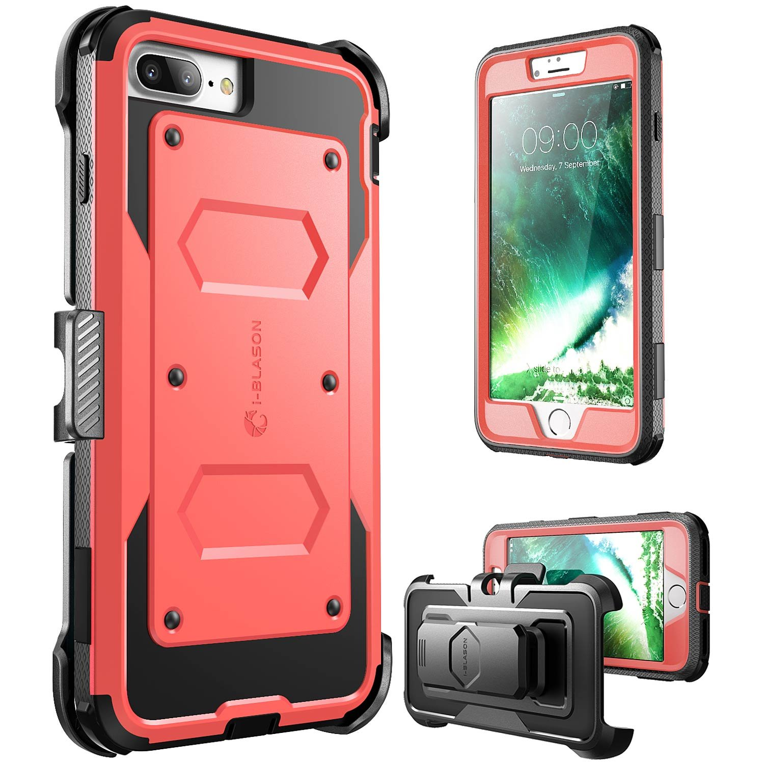 iPhone 8 Plus Case, [Armorbox] i-Blason built in [Screen Protector] [Full body] [Heavy Duty Protection ] Shock Reduction / Bumper Case for Apple iPhone 7 Plus 2016 / iPhone 8 Plus 2017 Release(Pink) i-Blason inc iPhone7sPlus-Armorbox-Pink