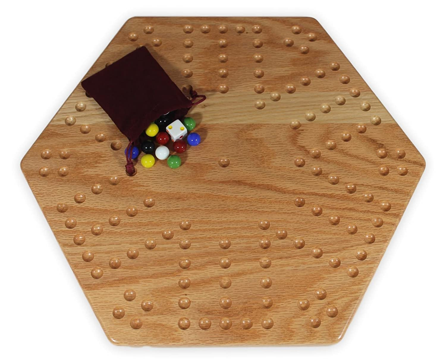 Solid Oak Double-sided 16 Aggravation (Wahoo) Board Game Set by AmishToyBox.com