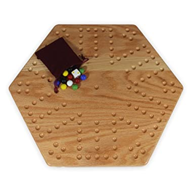 Solid Oak Double-sided Aggravation (Wahoo) Board Game Set, 16  Wide
