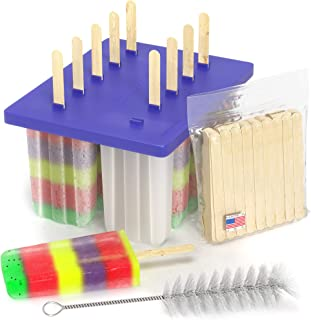 product image for American Ice Pop Maker - Frozen Popsicle Mold Kit Moldes Para Paletas - 10 Large BPA Free Removable Plastic Molds + 50 Wood Sticks, Cleaning Brush, Healthy Kids Fruit & Cream Treats(Classic-10, Blue)