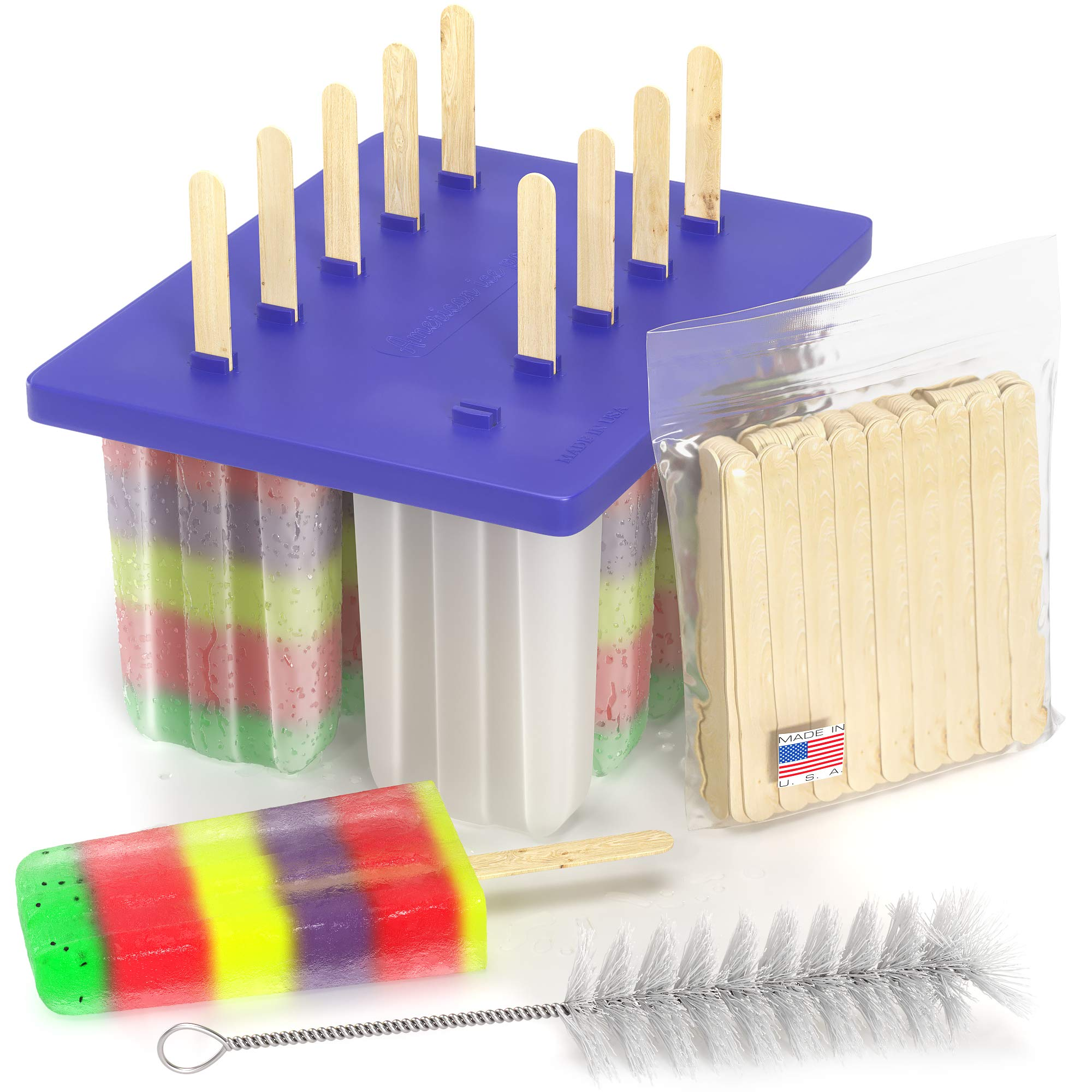 American Ice Pop Maker - Frozen Popsicle Mold - Set of 10 BPA Free Plastic Molds + 50 Wood Sticks & Cleaning Brush (Classic-10 + 200 Sticks, Blue) by American Ice Pops