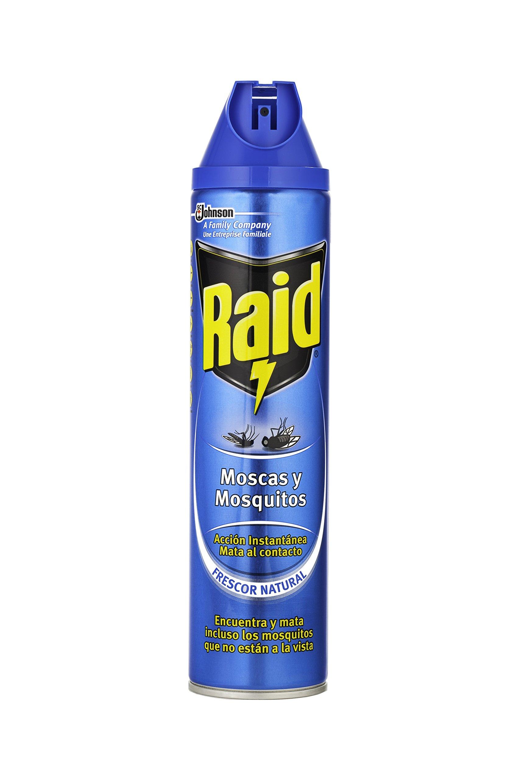 Raid ® Spray Insecticida - Aerosol para moscas y mosquitos, Frescor Natural. Eficacia inmediata. Unidad, 600ml