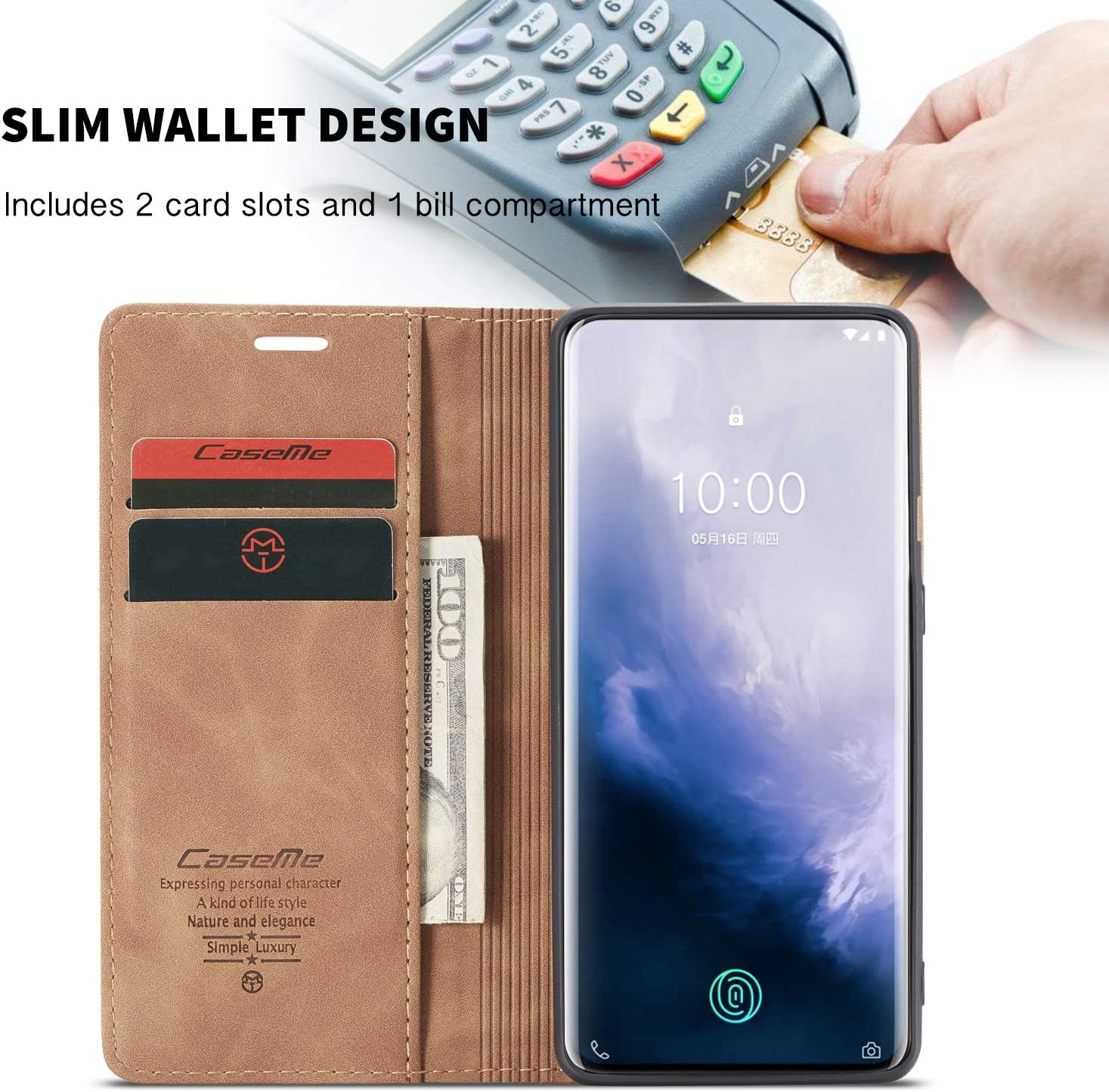 XJZ Compatible with OnePlus 8 Phone Case +3D Tempered Glass Screen Protector//Cover Leather PU Magnetic Flip Wallet Protection Case//ID Card Slots//Holder//Kickstand//TPU Inner Shell-Purple 2019