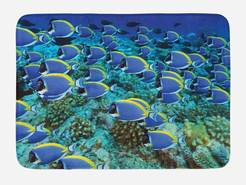 Aqua Blue and Yellow Plush Bathroom Decor Mat with Non Slip Backing School of Powder Blue Tang Fishes in The Coral Reef Maldives Deep Seas 29.5 W X 17.5 W Inches Lunarable Ocean Bath Mat