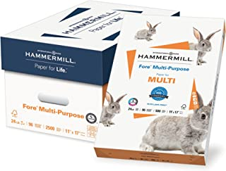 product image for Hammermill Fore Multi-Purpose 24lb Copy Paper, 11x17, 5 Ream Case, 2500 Sheets, Made in USA, Sustainably Sourced From American Family Tree Farms, 96 Bright, Acid Free, Economical Printer Paper,102848C