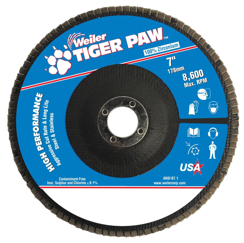 Weiler 51138 Tiger Paw High Performance Abrasive Flap Disc, Type 27 Flat Style, Phenolic Backing, Zirconia Alumina, 7 Diameter, 7/8 Arbor, 60 Grit, 8600 RPM (Pack of 10) by Weiler B00FDZLIAI