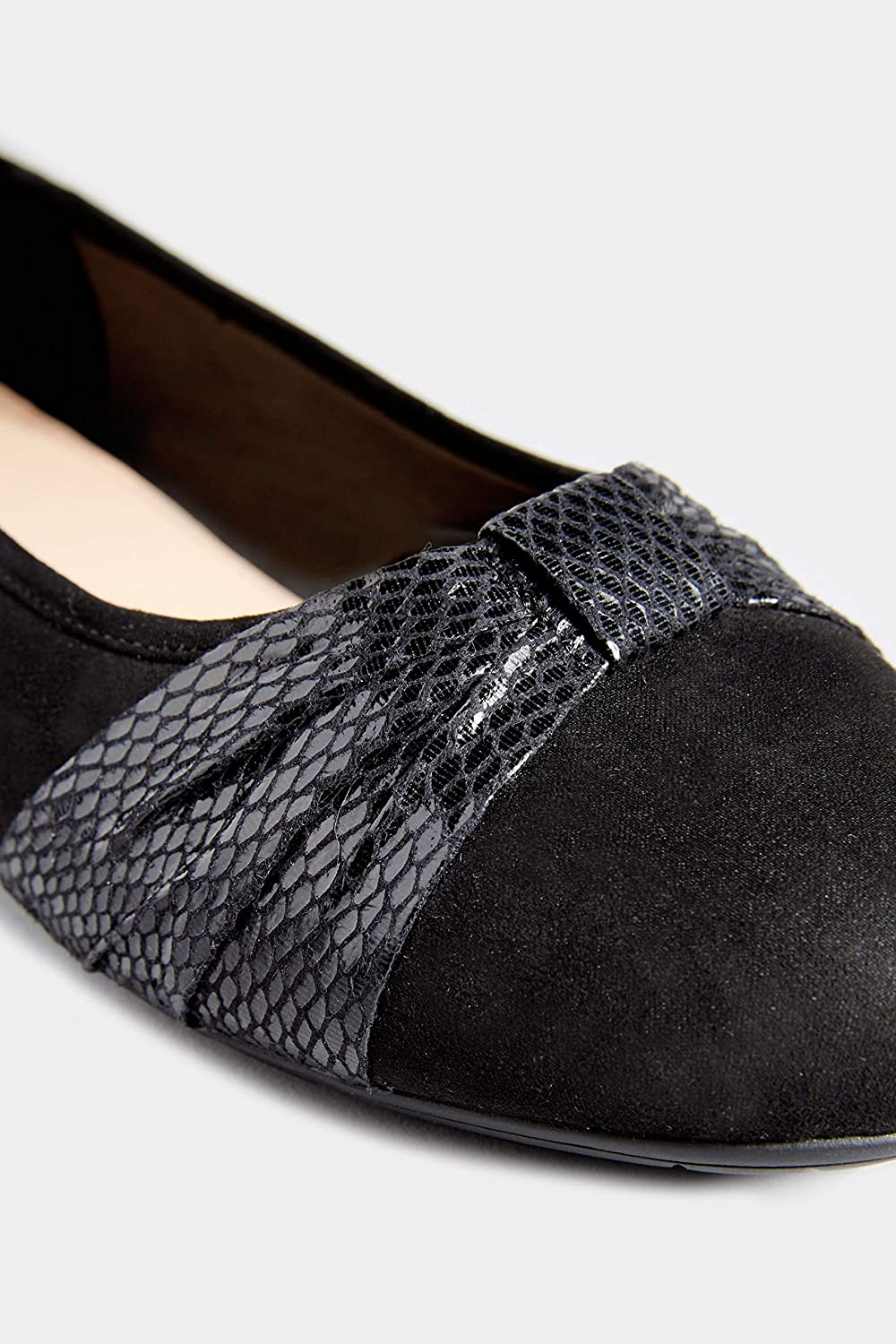 Yours Clothing Womens Faux Suede Snake Print Ballerina Pumps in Extra Wide Fit