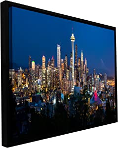 ArtWall Cody York's Seattle Skyline Gallery-Wrapped Floater-Framed Canvas, 12 by 24-Inch