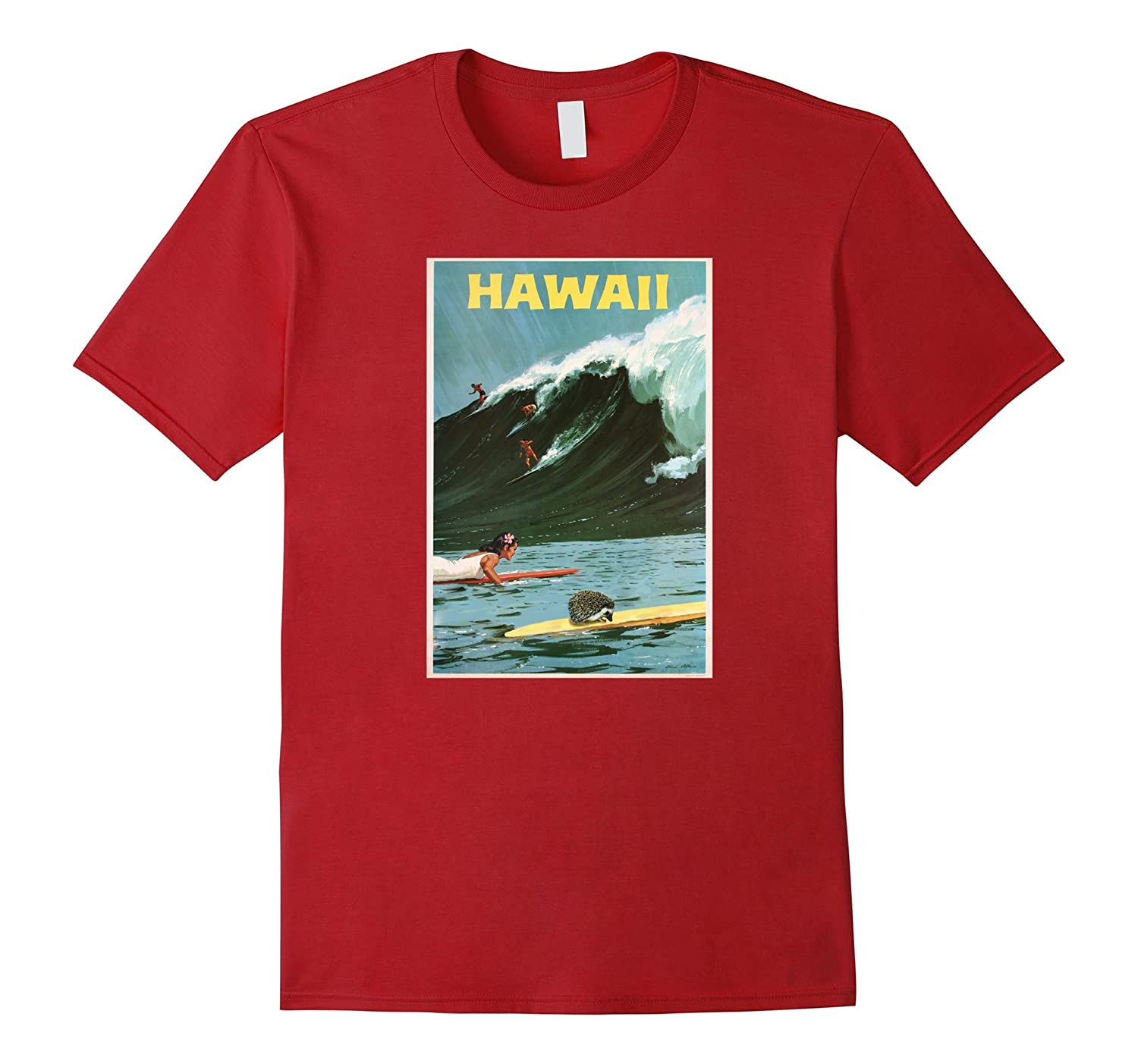 Hedgehog tshirt: Aloha Hawaii Hedgehog Surfing Shirt-Art