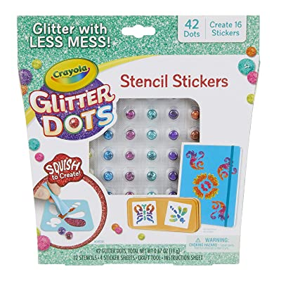 Crayola Glitter Dots Stencil Stickers Craft Kit Age 7+: Toys & Games