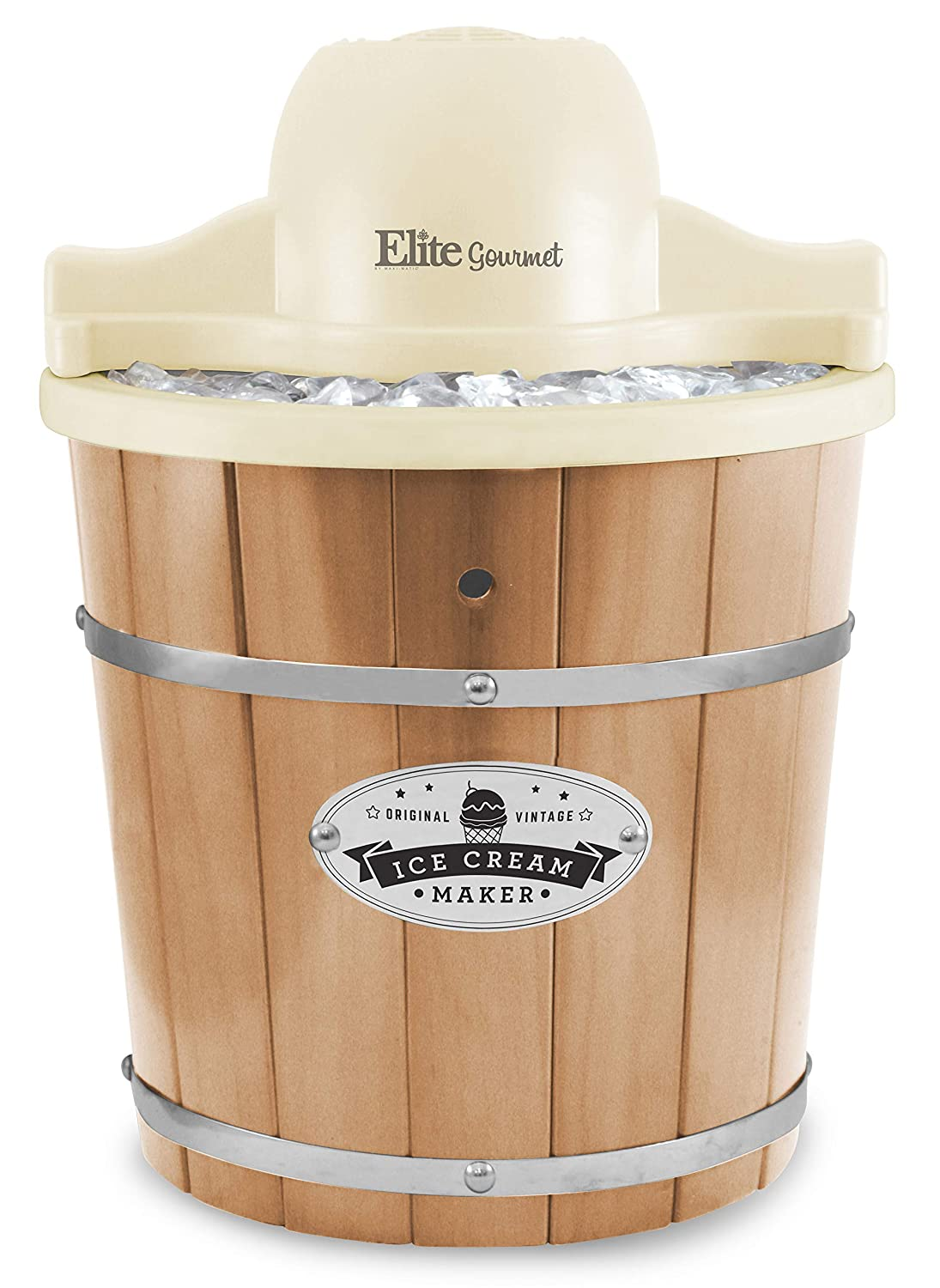 Elite Gourmet EIM-924L Old Fashioned Vintage Appalachian Wood Bucket Electric Maker Machine with Leak-Proof Liner, Uses Rock Salt Churns Ice Cream in Minutes, 4 Quart, Pine