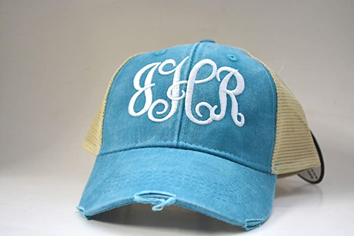 6ad1b12dd41 Amazon.com  Monogrammed distressed Women s Trucker Hat Personalized ...