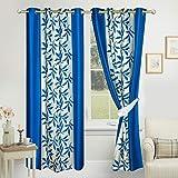 heny home Kolaveri 2 Piece Eyelet Polyester Door Curtain Set - (6 feet, Aqua Blue)