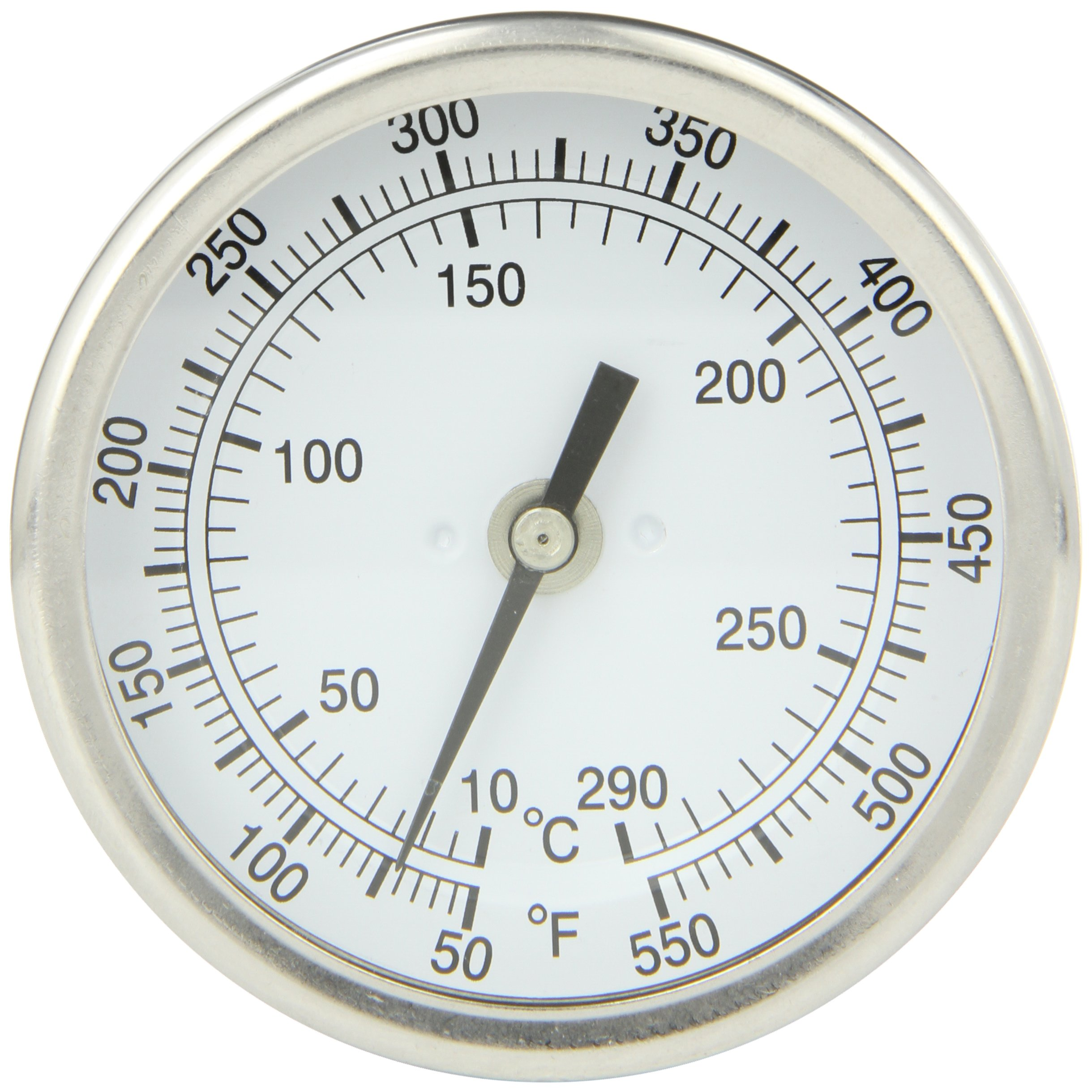 PIC Gauge B3B2-RR 3'' Dial Size, 50/550°F and 10/288°C, 2'' Stem Length, Back Angle Connection, Stainless Steel Case, 316 Stainless Steel Stem Bimetal Thermometer