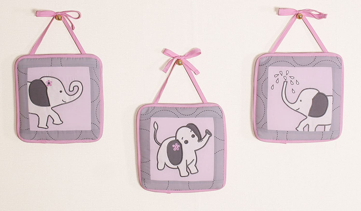 6b80a1dcd413d4 Amazon.com : Boutique Baby Pink Gray Elephant 14 Pieces Nursery Crib  Bedding Sets - Including Musical Mobile : Baby