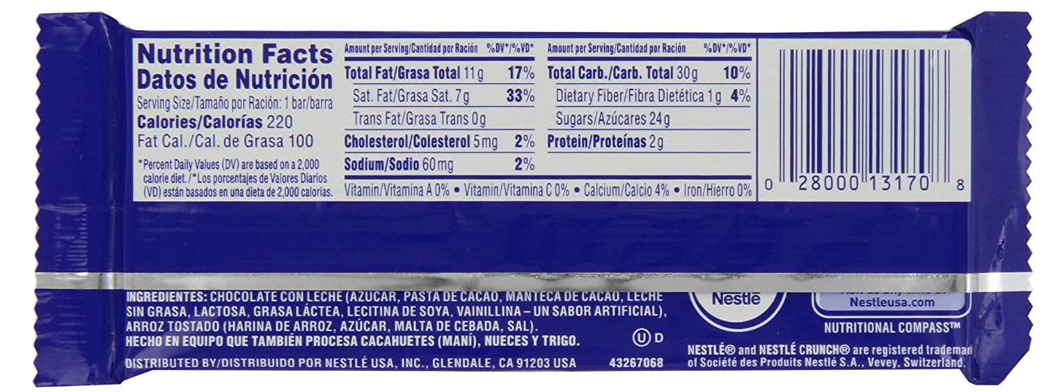 Amazon.com : Nestle Crunch Bar, 15.5 Ounce : Candy And Chocolate Bars : Grocery & Gourmet Food