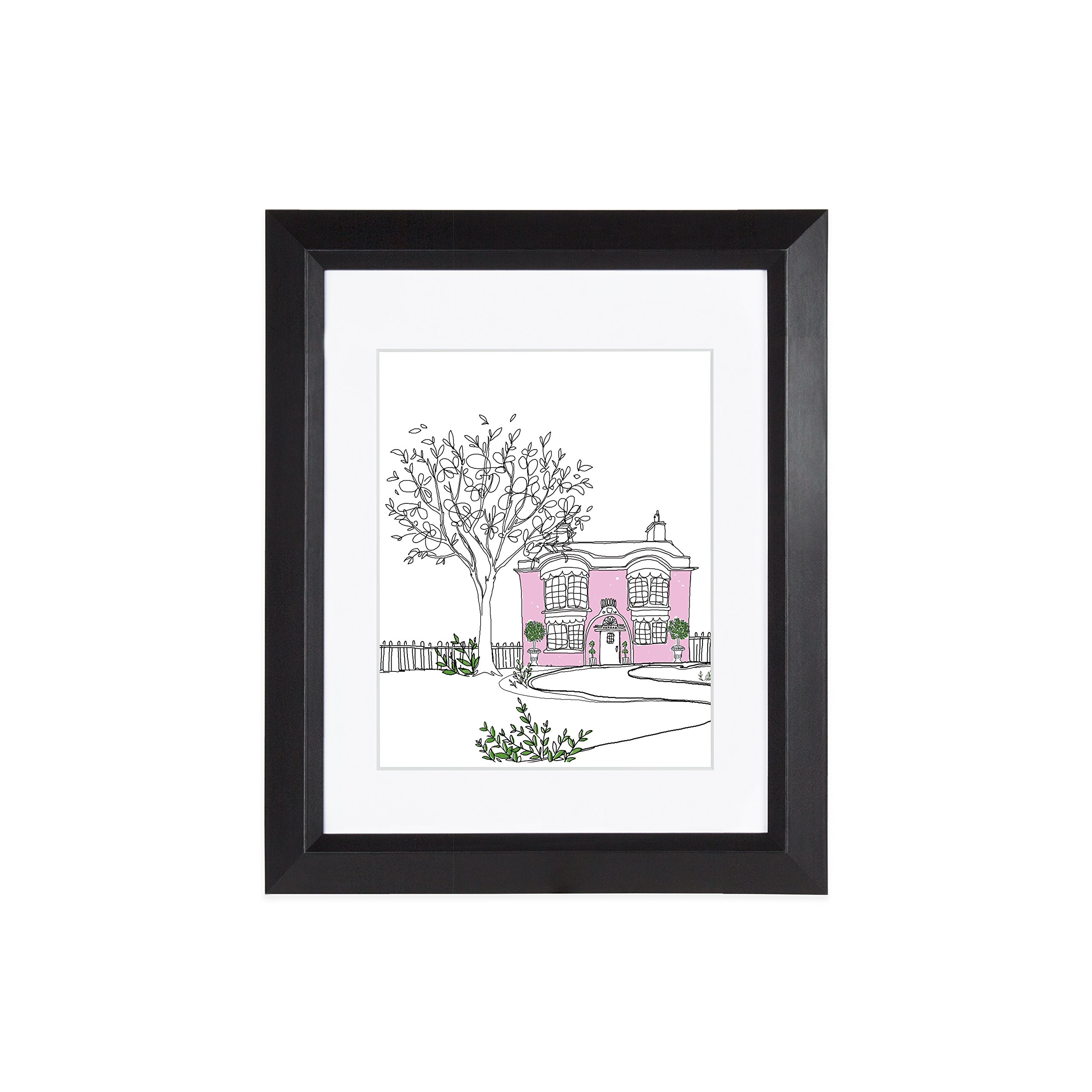 EDGEWOOD Lakewood 11x14 Black photo frame with mat for 8x10 picture or 11x14 photo without mat