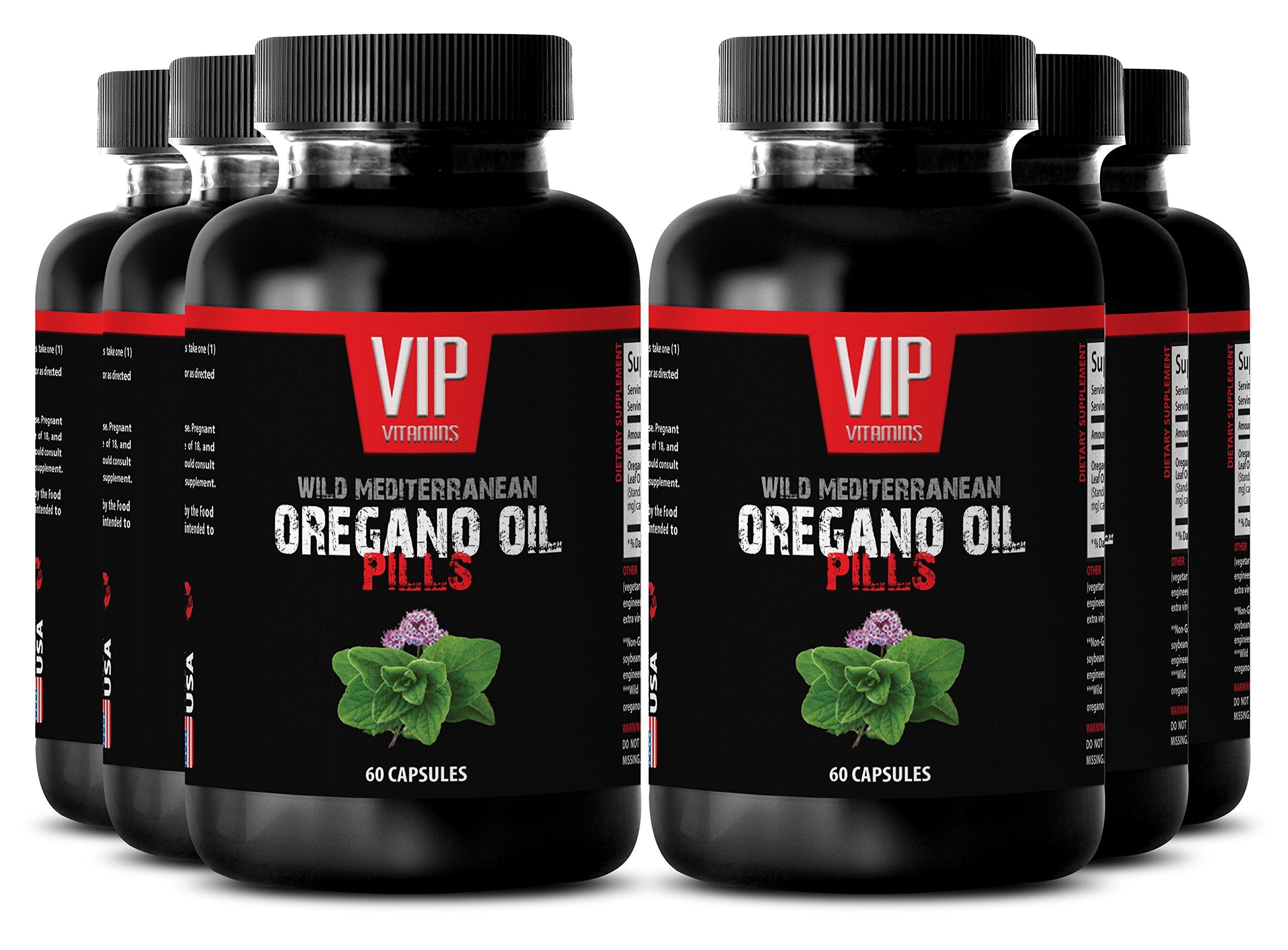 Mediterranean diet - Wild Mediterranean Oregano Oil 1500mg - Antifungal - 6 Bottles 360 Capsules by VIP VITAMINS