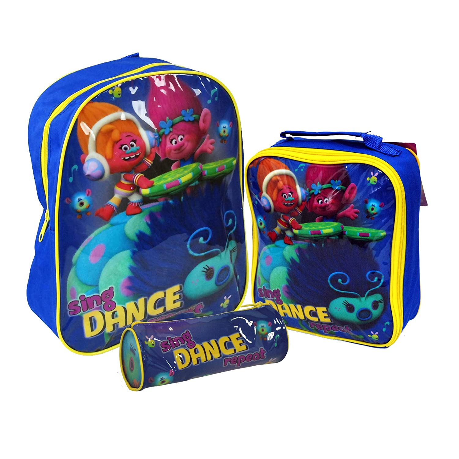 DreamWorks® Trolls 'Sing, Dance, Repeat' Official Kids Children School Travel Backpack, Lunch Bag & Pencil Case Set DreamWorks® Trolls 'Sing Universal® Minions