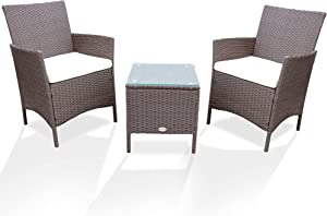 PAOLFOX Patio Conversation Furniture Sets 3pcs PE Rattan Wicker Chairs w/Table Outdoor Garden Sofa Washable Cushion & Tempered Glass Table top for Garden Poolside Balcony (Brown Sets + Beige Cushion)