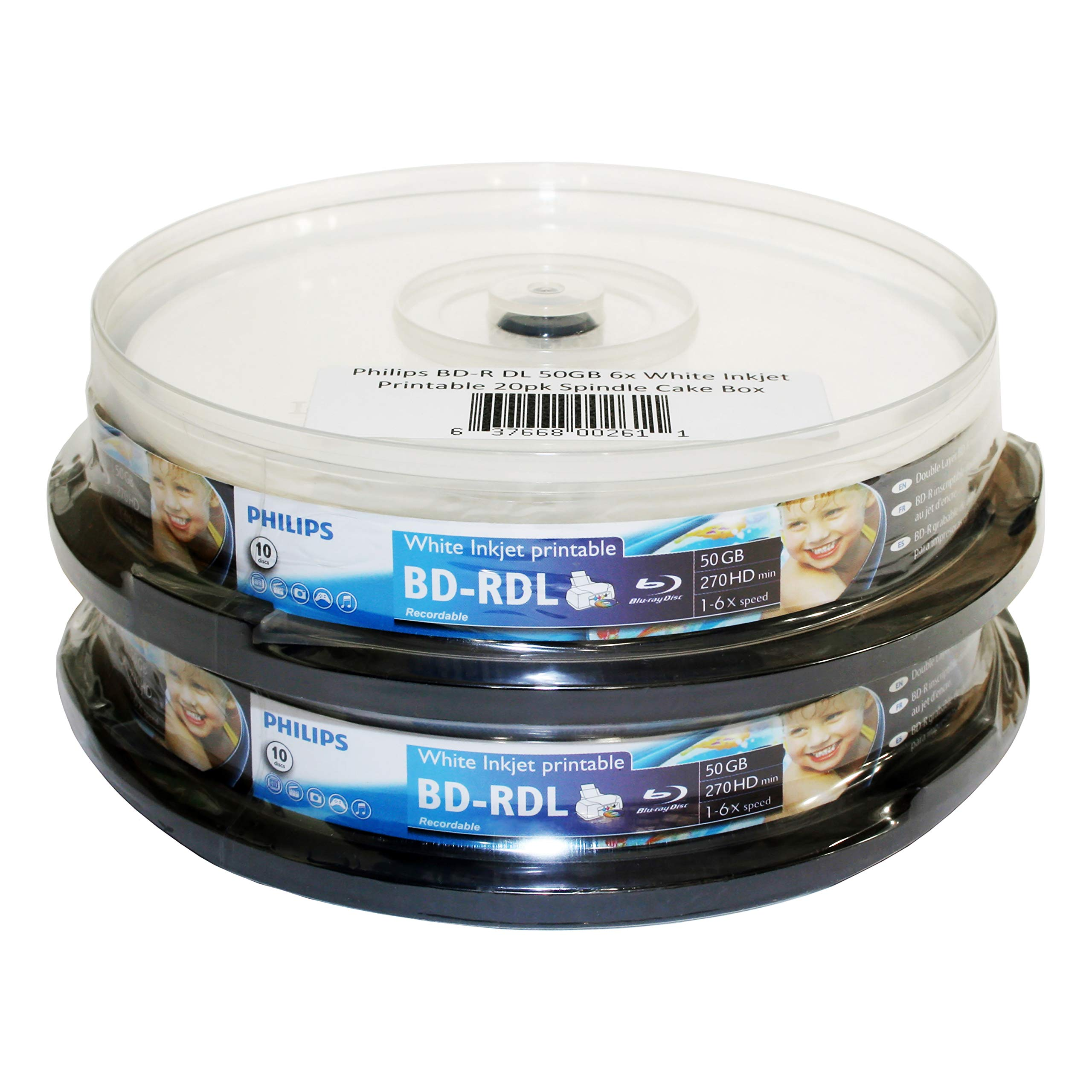 Philips BD-R DL 50GB 6X White Inkjet Printable 20pk Spindle Cake Box