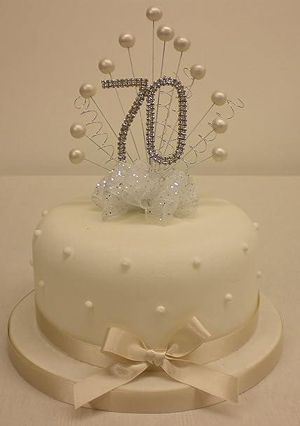 CAKE TOPPER PEARL BURST SPRAY DIAMANTE 70th BIRTHDAY IVORY PEARLS