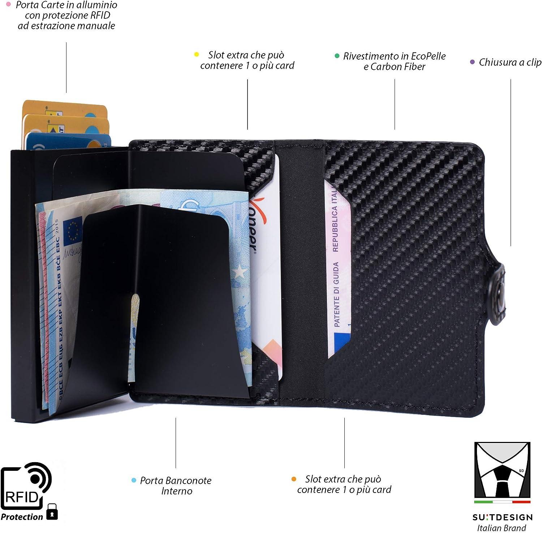 Porta Tarjetas de crédito Cartera Hombre y Mujer Slim Bloqueo RFID antirrobo con extracción Manual portatarjetas rígido de Aluminio blindado Billetera Elegante ...