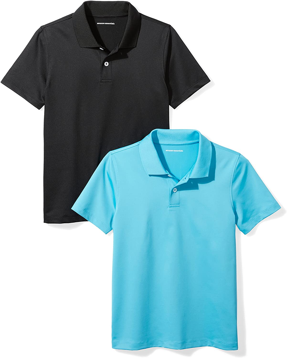 Essentials Little Boys 2-Pack Performance Polo 4-5 Canyon Blue//Black XS