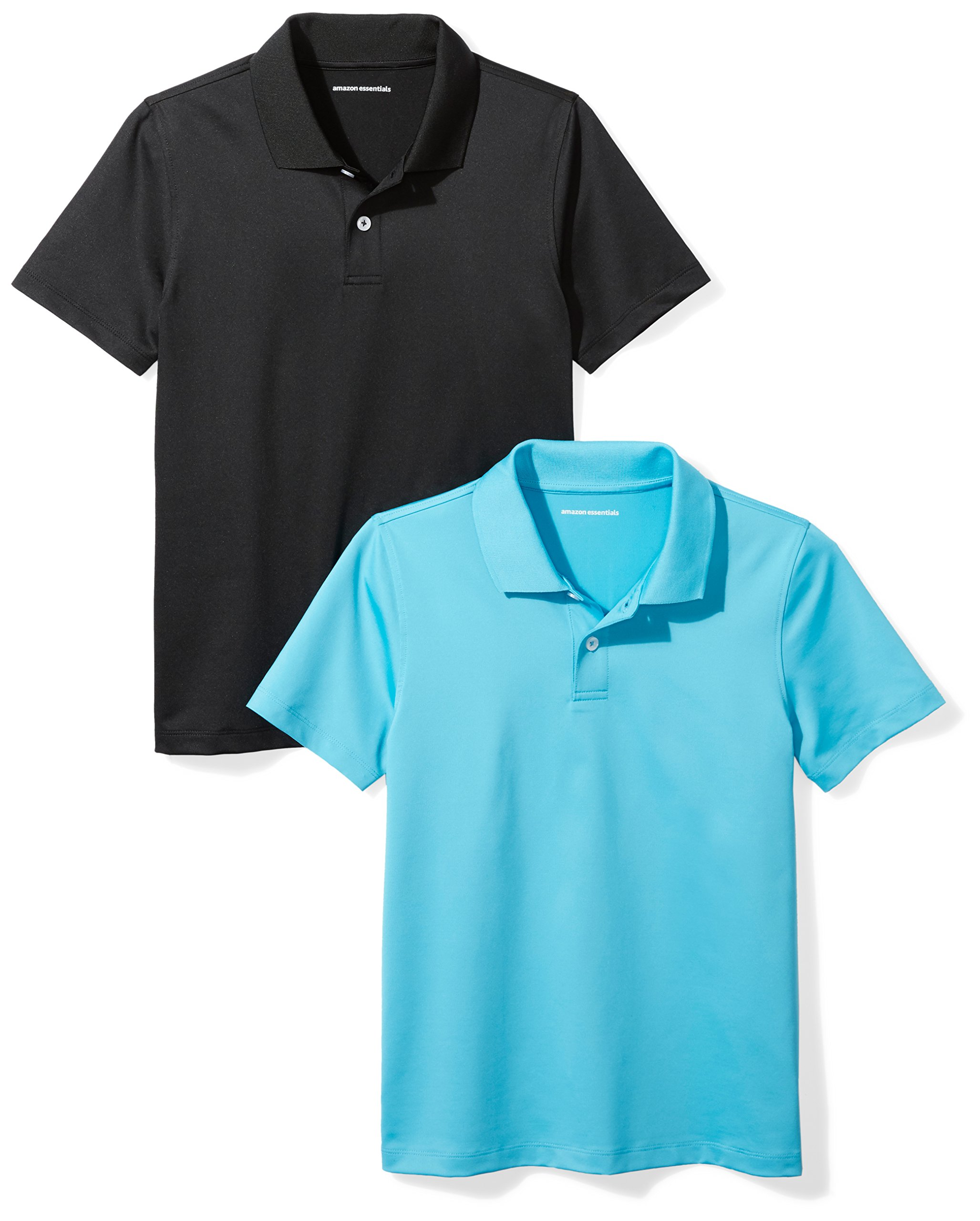 Amazon Essentials Boys' 2-Pack Performance Polo, Canyon Blue/Black, M (8)