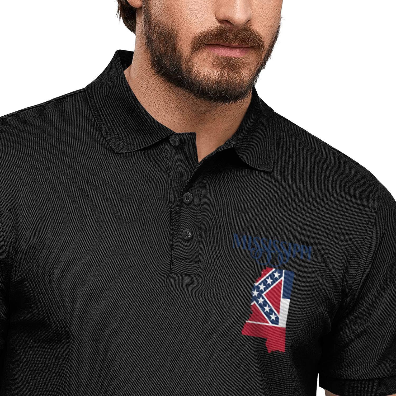 WYFEN Men Printed Polo Shirt Mississippi map Logo Designer Short Sleeve T-Shirt