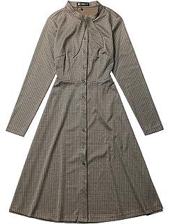 Allegra K Womens Tie Neck Button Up Work Office Plaid Houndstooth Midi Dress
