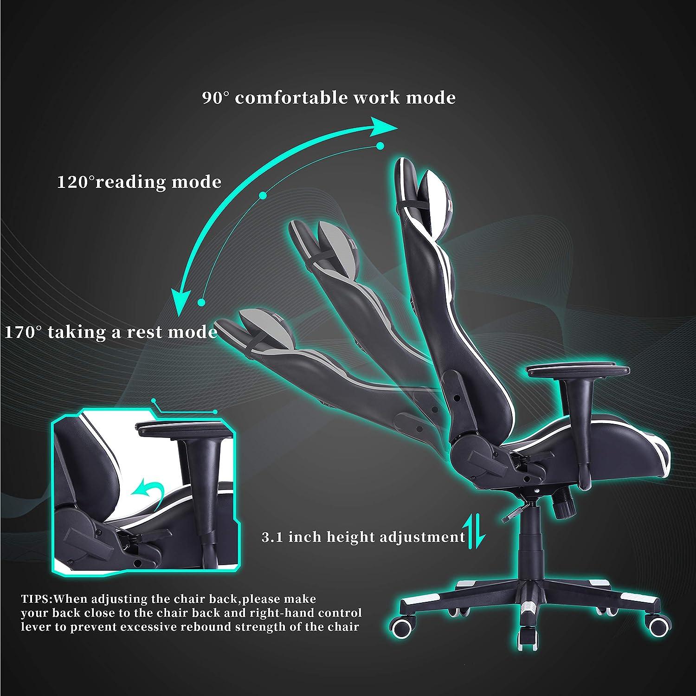 XPELKYS spelstol, racerstol, ergonomisk datorstol, kontorsstol, justerbart ryggstöd och höjd, huvud och ländrygg stöd. 300 Ibs (grön) Vitt
