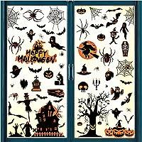 Raamstickers, 8 vellen, Halloween, decoratieve raamstickers, heks, vleermuis, slot, raamstickers, waterdichte…