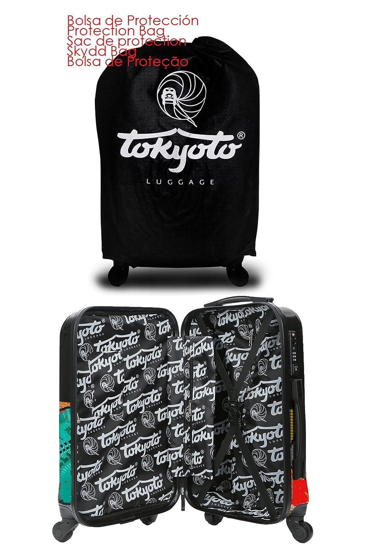 Maleta de cabina Equipaje de mano 55x40x20 Maleta juvenil trolley de viaje Ryanair Easyjet de TOKYOTO LUGGAGE Maleta de viaje Rígida FLAMENCA (Preparada ...