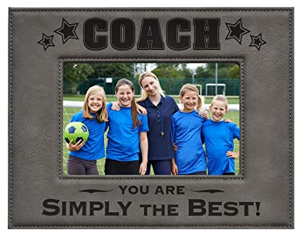 Amazon.com - COACH PICTURE FRAME ~ Gray 4 x 6 Engraved Leatherette ...