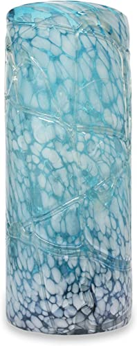 NOVICA Hand Blown Large Glass Vase, Blue and White, Blue Water Cylinder