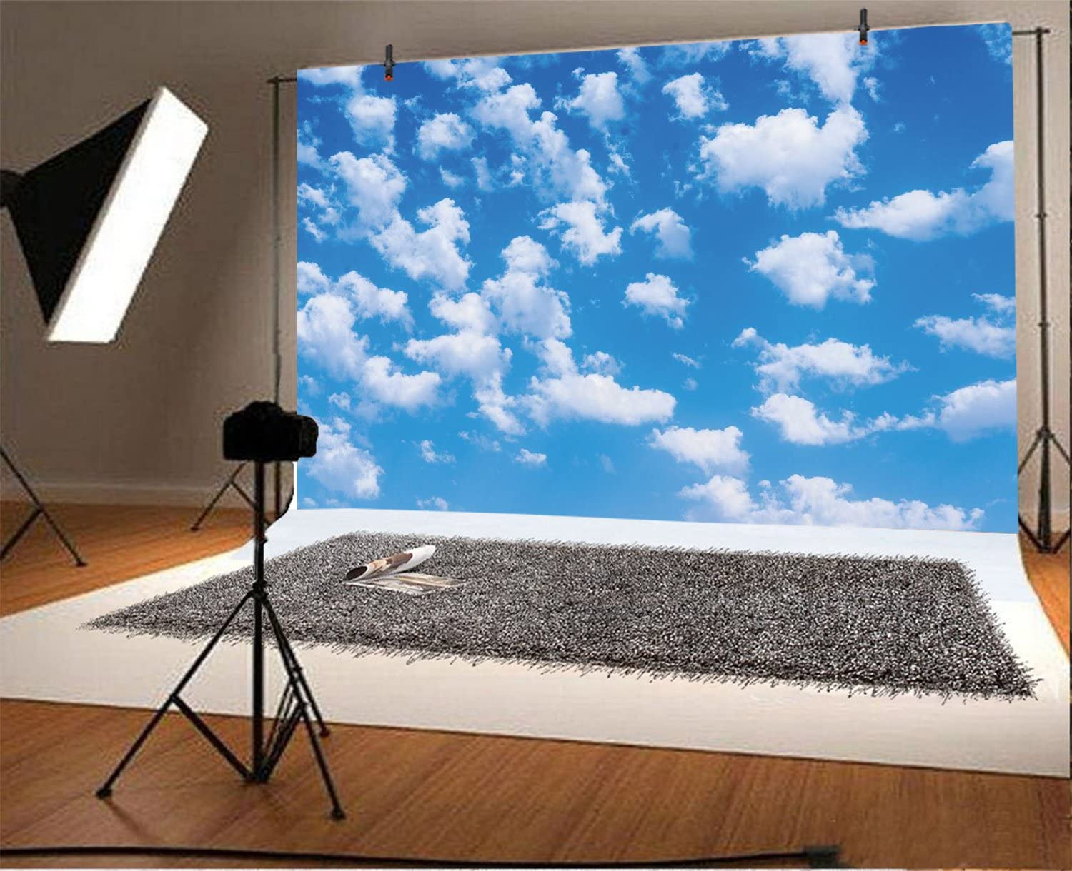 6x8 FT Backdrop Photographers,Fluffy Cloud Skyline Like Marble Motif with Grunge and Retro Features Art Image Print Background for Photography Kids Adult Photo Booth Video Shoot Vinyl Studio Props