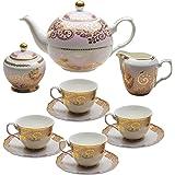 Grace Teaware 11-Piece Porcelain Tea Set (Gold Lace Pink)