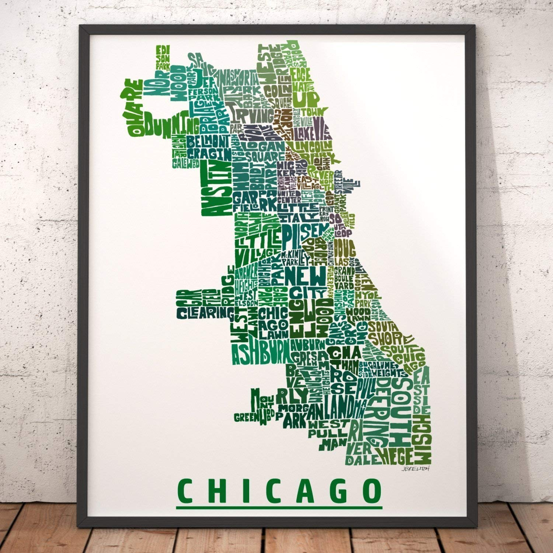 Amazon.com: Chicago Neighborhood Map Print, signed print of my ... on