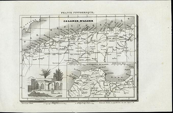 Colony of Algiers Fountain Vignette Mediterranean 1835 scarce ... on