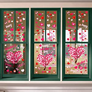 Ivenf Valentines Day Decorations Heart Window Clings Decor, Kids School Home Office Large Valentines Hearts Accessories Birthday Party Supplies Gifts, 6 Sheet 117pcs, Pink Set