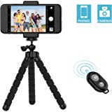 iPhone Tripod,Lpartsol Stand Holder,Octopus Style Portable and Adjustable with Bluetooth Remote and Universal Clip,Tripod for Android & iOS Phone,Camera (black)