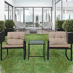 Pyramid Home Decor 3-Piece Rocking Bistro Set - Durable & Stylish Synthetic Wicker Outdoor Furniture - Glass Coffee Table with 2 Chairs for Balcony, Patio & Porch - Black Metal, Soft Beige Cushions