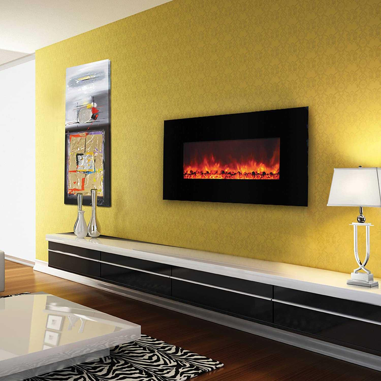 Yosemite Home Decor DF-EFP1000 Contemporary Large Glass Electric ...